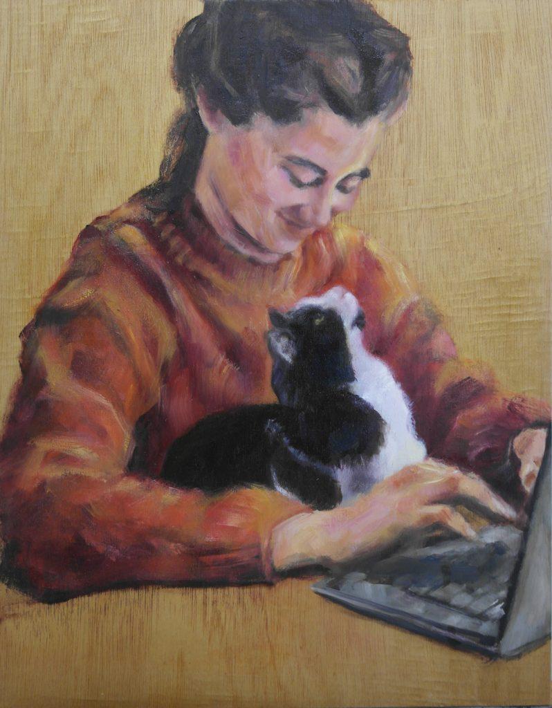 Andrea-met-Pim-op-schoot-olieverf-portret