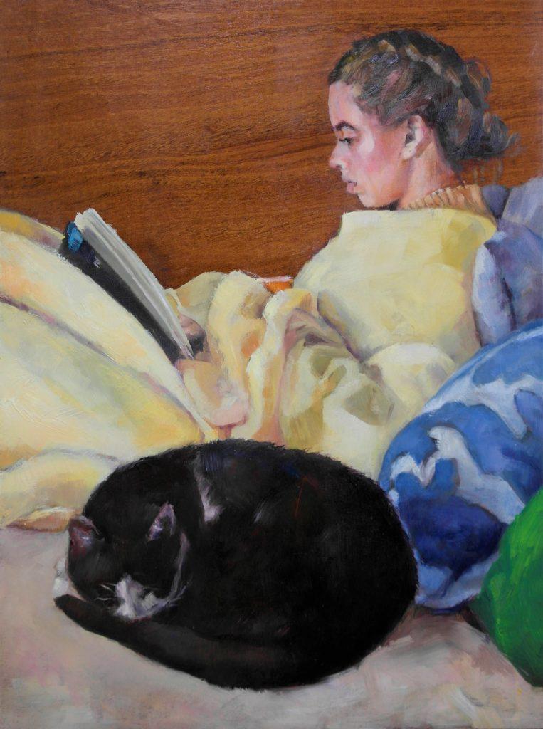 Andrea-op-de-bank-met-Pim-olieverf-portret