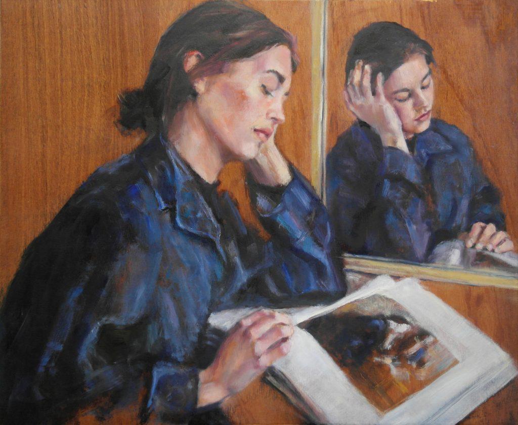 Portret Julia met spiegelbeeld olieverf op hout