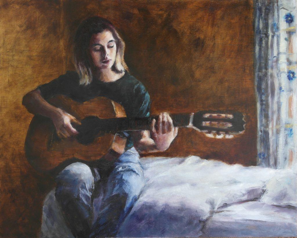 Met gitaar - 2021 - olieverf op hout - 40 x 50 cm