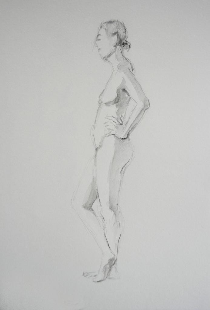 staand naaktmodel zijaanzicht aquarelpotlood op papier