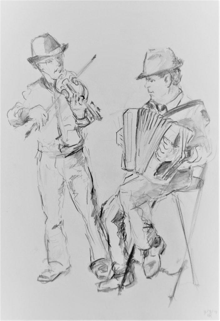 spelende-muzikanten-schets