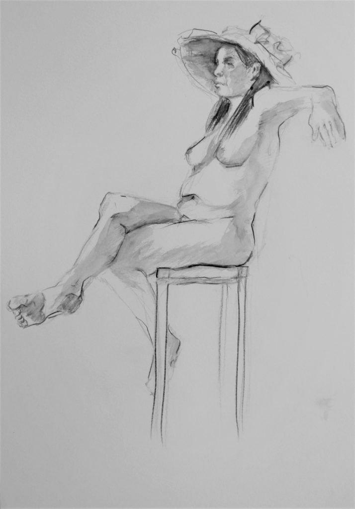 Schets-aquarelpotlood-naaktmodel-met-hoed-zittend-op-kruk