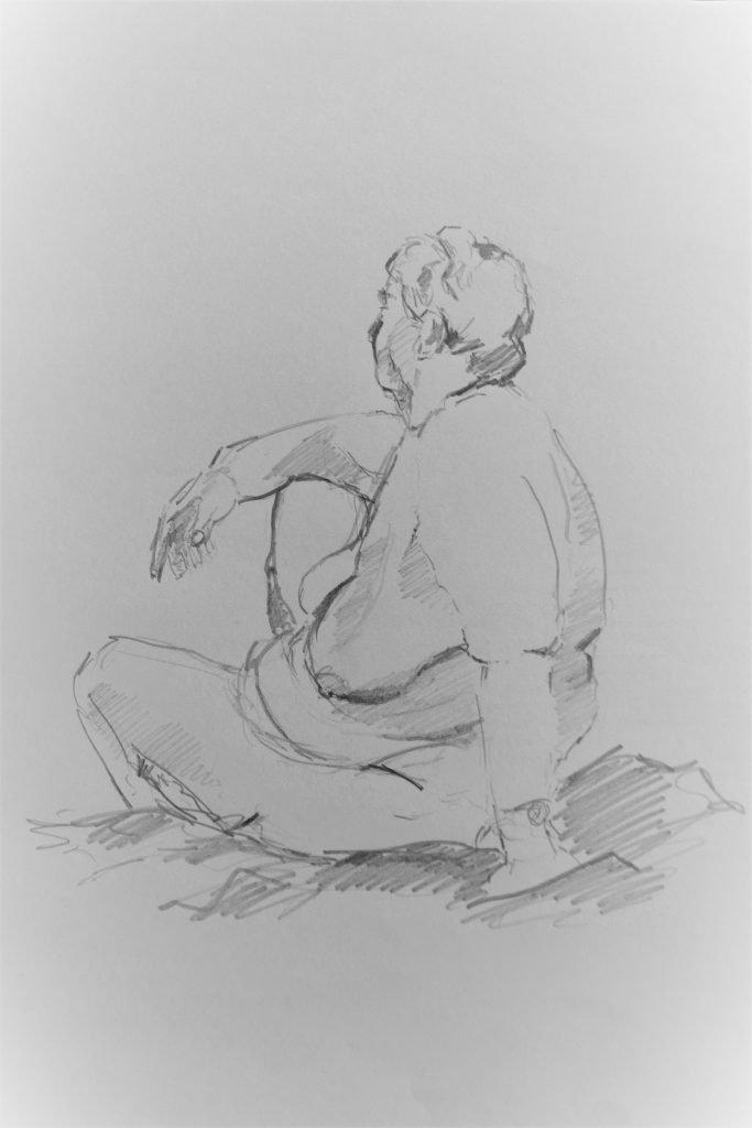 Schets-vrouwelijk-naakt-potlood-op-papier