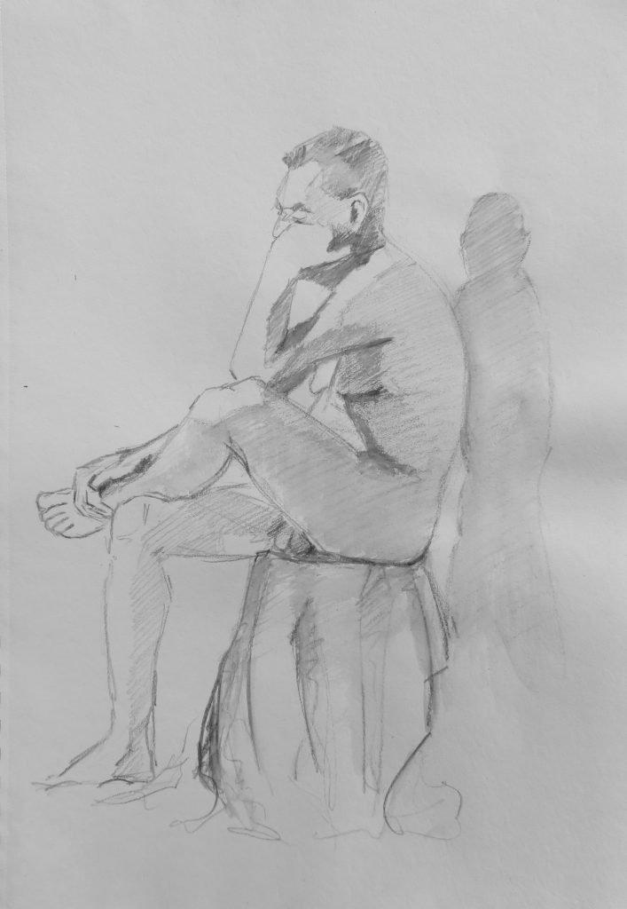 schet aquarelpotlood van mannelijk naakt zittend met hoofd leunend op hand