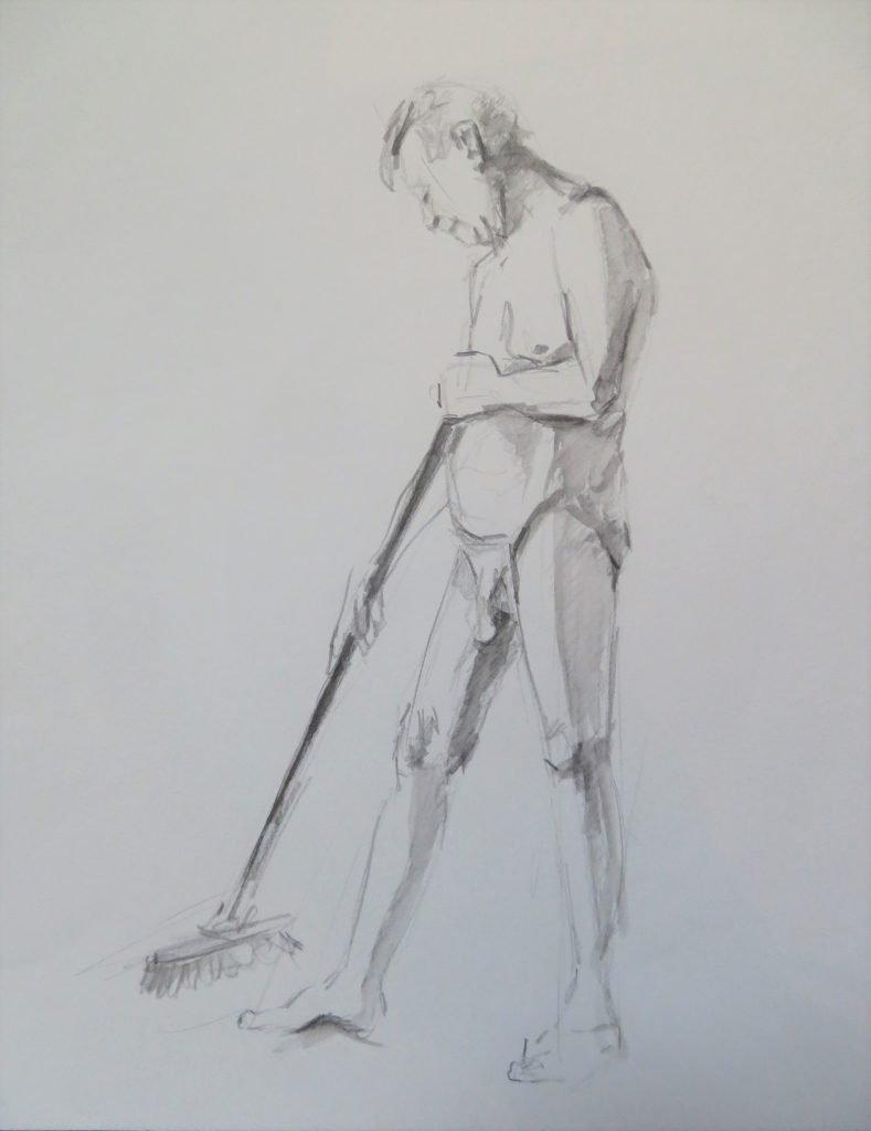 schets aquarelpotlood mannelijk naakt met bezem