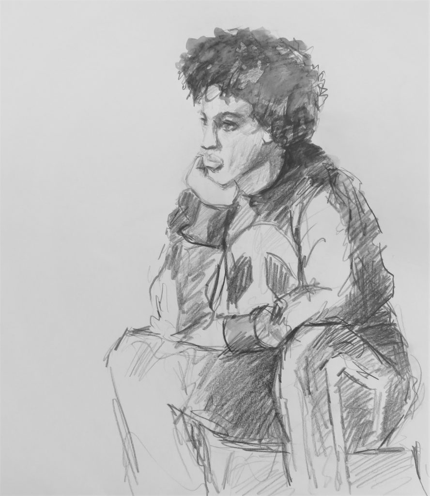 schets aquarelpotlood van jonge jongen met hand onder de kin