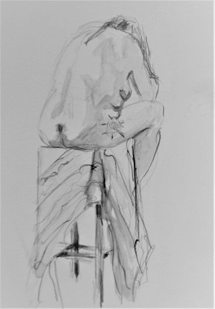 schets-aquarelpotlood-voruwelijk-naakt-met-gebogen-rug-op-hoge-kruk