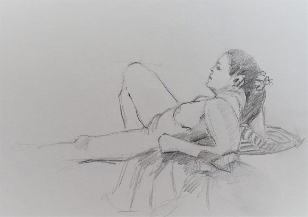 schets liggend vrouwelijk naakt met strik in het haar