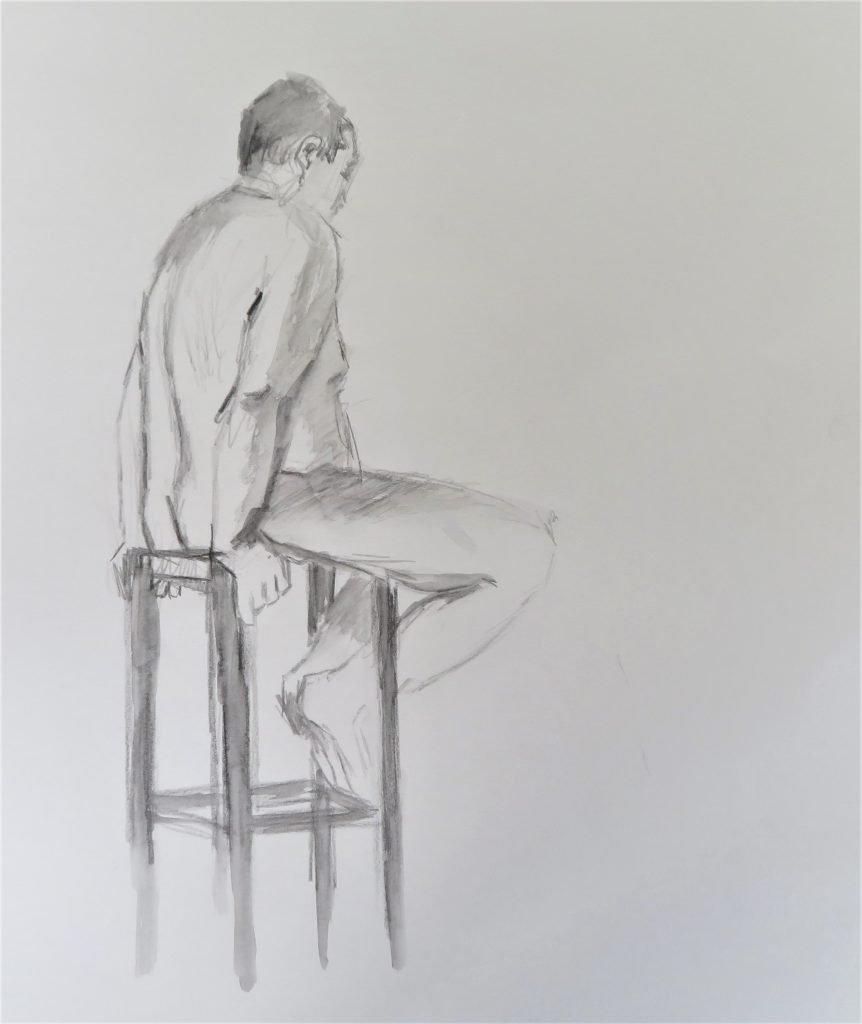 schets mannelijk naakt zitten op hoge kruk