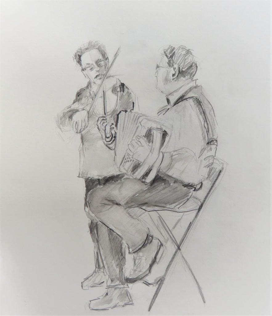 schets met aquarelpotlood spelende muzikanten violist en accordeon