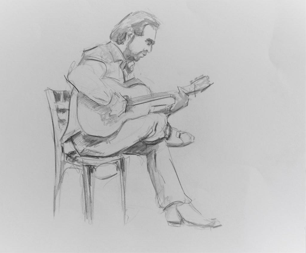 schets-spelend-gitarist-met-been-over-ander-been-gevouwen
