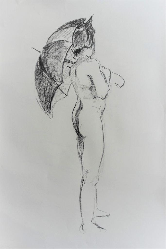 schets-vrouwelijk-naakt-met-uitgevouwen-paraplu-zijkant.