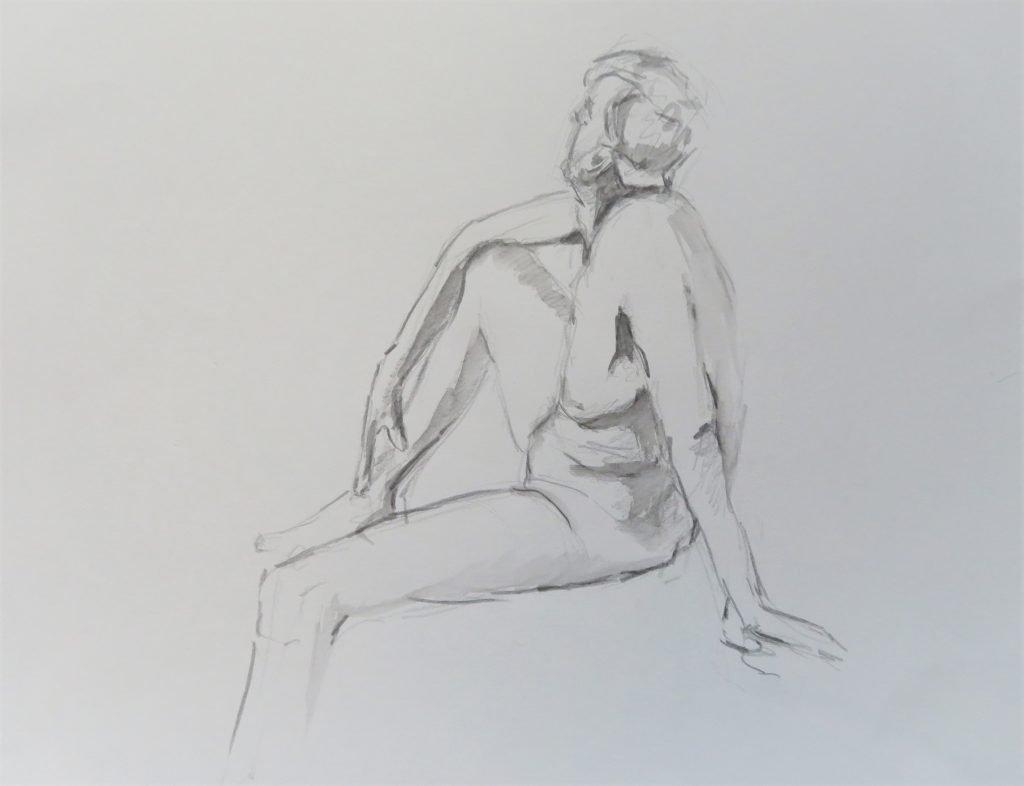 schets zittend mannelijk naaktmodel met blik omhoog gericht