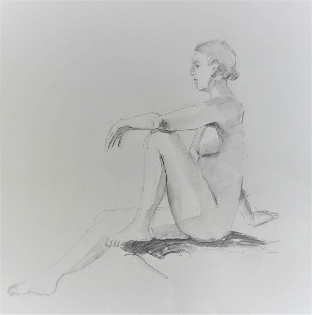 schets-zittend-vrouwelijk-naakt-met-een-opgetrokken-been