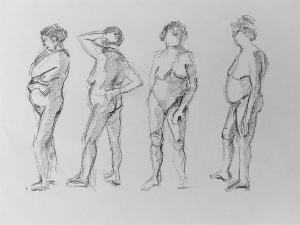 snelschetsen staand vrouwelijk naakt in verschillende poses